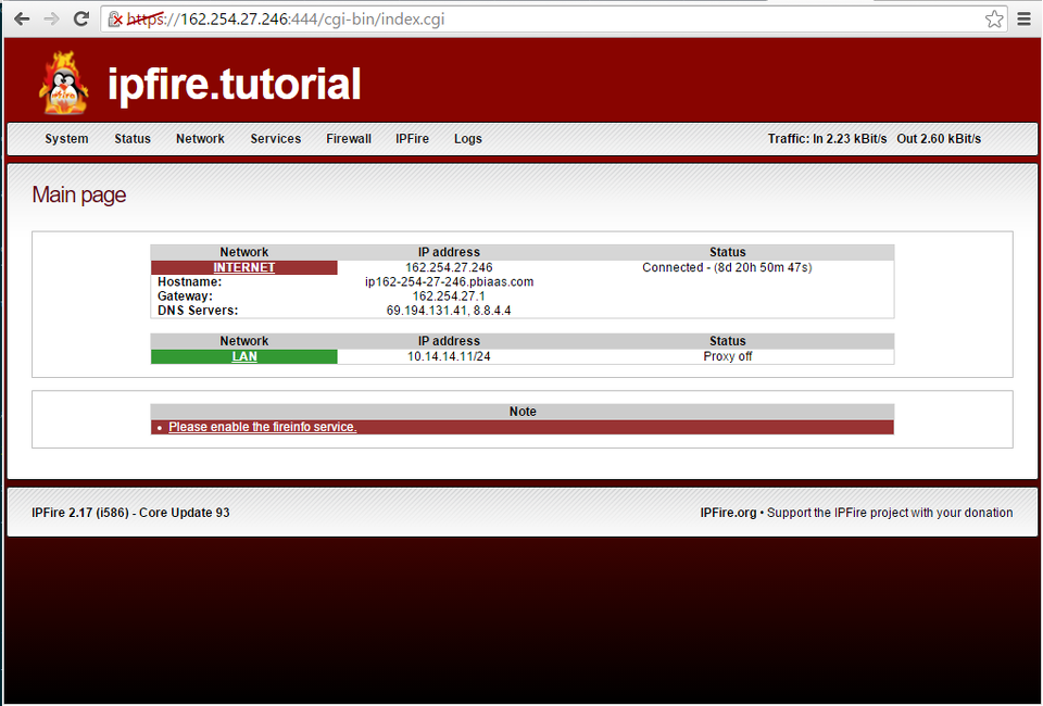 IPFire Web Interface Home